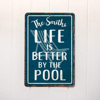 Pool' 4 Wooden Shoes Personalized Distressed Vintage-Look Life is Better by the Pool Textual Art on Metal