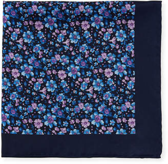 Neiman Marcus Men's Floral Silk Pocket Square