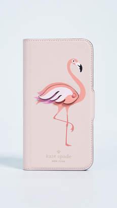 Kate Spade Flamingo Applique Folio iPhone X Case