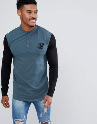 SikSilk long sleeve t-shirt in green with contrast sleeves