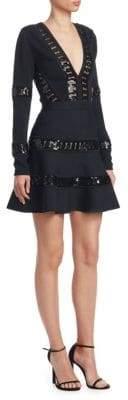 Elie Saab Long Sleeve Knit Sequin Cocktail Dress