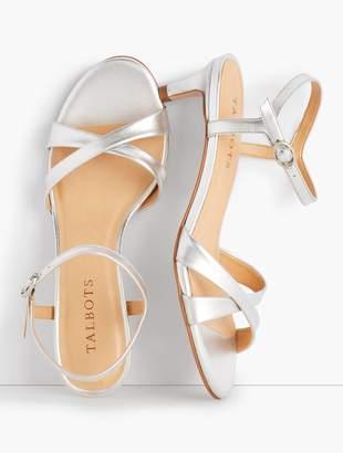 7745c91f932b Talbots Pila Criss-Cross Leather Sandals - Metallic