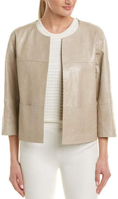 Lafayette 148 New York Crackle Leather Jacket