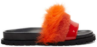 Sacai Orange and Red Furry Slides