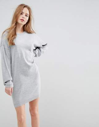 Asos DESIGN Knitted Sweater Dress with Volume Sleeves