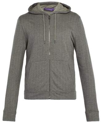 Ralph Lauren Purple Label Herringbone Jersey Hooded Sweatshirt - Mens - Grey