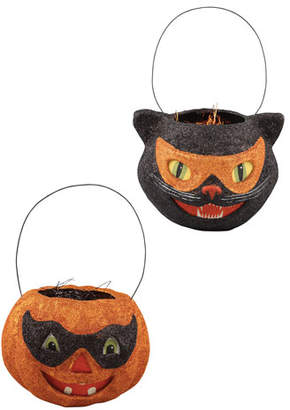 Bethany Lowe Glittered Masquerade Halloween Buckets, Set of 2