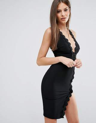 Rare London Plunge Neck Dress With Wavy Trim