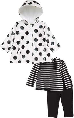 Little Me Stripe T-Shirt, Leggings & Polka Dot Hooded Raincoat Set