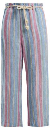 Frame Tie Waist Linen Trousers - Womens - Purple Multi