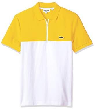Lacoste Men's Short Sleeve Color-Block Honeycomb Pique Slim Polo