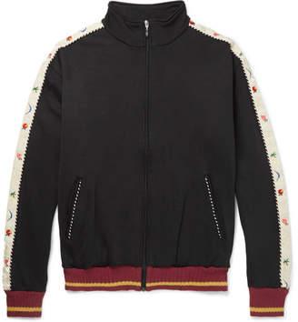 KAPITAL Embroidered Velvet-Trimmed Cotton-Blend Jersey Track Top