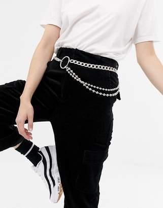 Asos Design DESIGN chain & ball detail waist and hip belt
