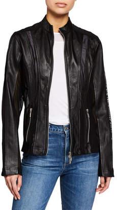 Logan Anatomie Zip-Front Lambskin Leather Moto Jacket w/ Mesh Inserts