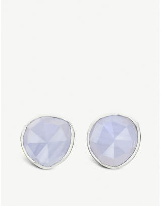Monica Vinader Siren sterling silver and blue lace agate stud earrings