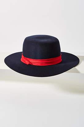 Anthropologie Suede-Trimmed Boater Hat