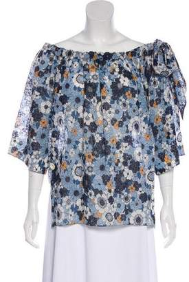 Chloé Off-The-Shoulder Printed Blouse