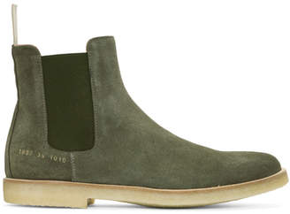 ... Common Projects Green Suede Chelsea Boots
