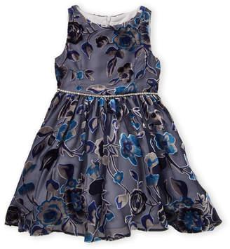 Pippa & Julie Toddler Girls) Navy Velvet Flower Burnout Dress