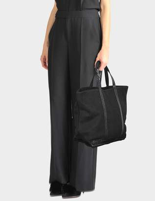 Vanessa Bruno Washed Leather and Sequins Medium + Tote Bag in Black Cowhide