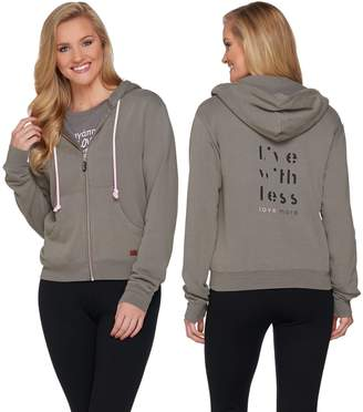 Peace Love World Zip Front Fleece Hoodie with Pockets