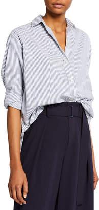 Vince Oversize Space-Dye Striped Shirt