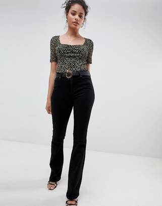 Miss Selfridge skinny flare jean in black