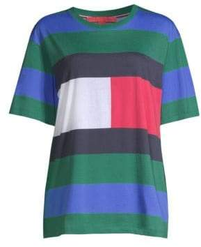 Tommy Hilfiger Tommy Tommy Women's Rugby Stripe Tee - Bayberry Multi - Size Small
