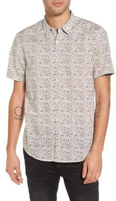 John Varvatos Slim Fit Animal Print Short Sleeve Sport Shirt