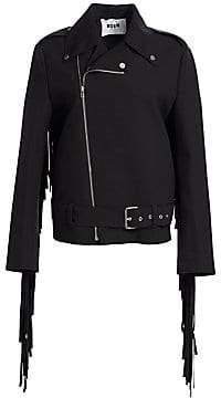 MSGM Women's Fringe Moto Jacket