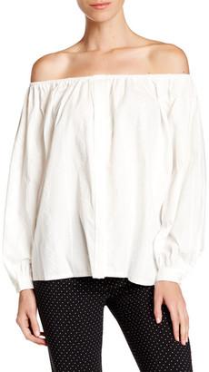 Pink Tartan Eyelet Off-The-Shoulder Blouse $295 thestylecure.com