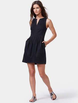 Halston Fit & Flare Linen Dress