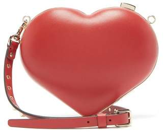 Valentino Carry Secrets Leather Heart Clutch - Womens - Red