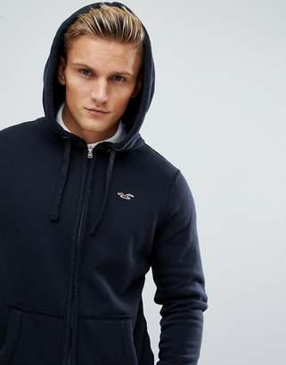 Hollister icon logo full zip hoodie in black