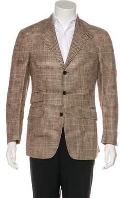 Etro Silk & Linen Glen Plaid Blazer