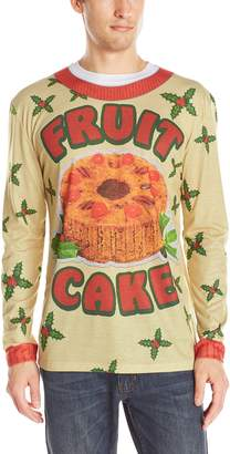 Faux Real Men's Fruit Cake X-Mas Sweater Long Sleeve T-Shirt
