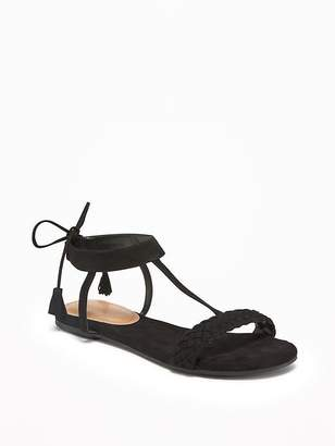 Old Navy Sueded Tie-Back T-Strap Sandals for Women