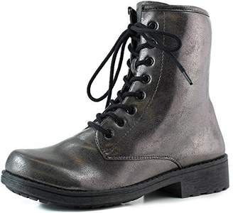 Qupid Women's Ankle Booties Military Combat Lace Up Boot Metallic Color