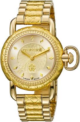 Roberto Cavalli By Franck Muller 36mm Moving Crown Watch w/ Bracelet Strap, Golden