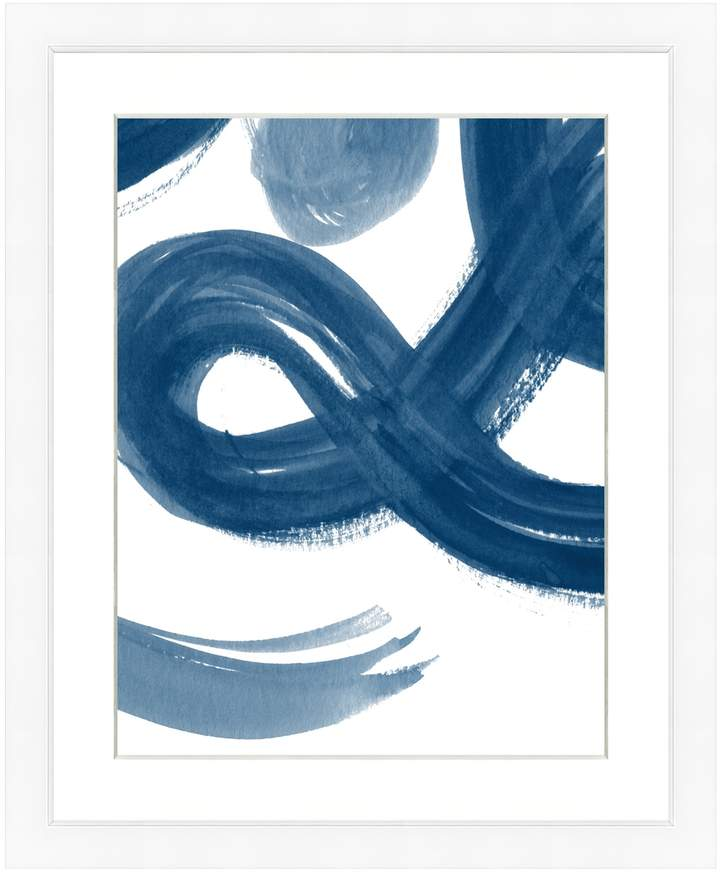 Art Source Navy Brushstroke Print II (Framed Giclee)
