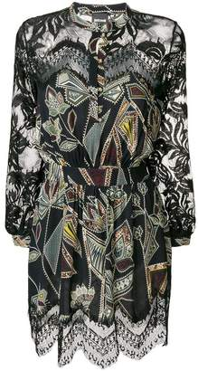Just Cavalli lace trim printed dress