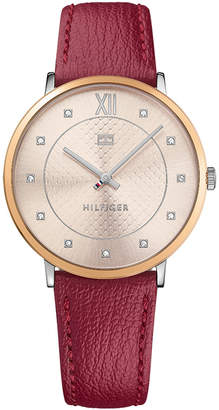 Tommy Hilfiger Women's Red Leather Strap Watch 40mm