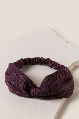 francesca's Alanna Lurex Knot Headwrap - Purple