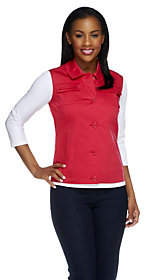 Dennis Basso Stretch Cotton Button FrontMulti-seam Vest