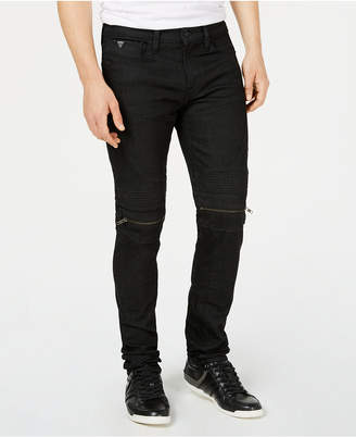 GUESS Men's Slim Tapered Black Moto Jeans