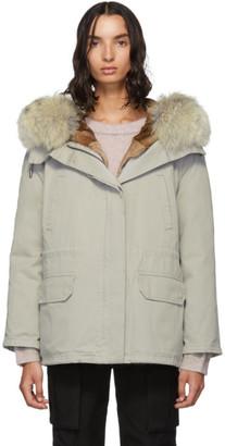 Yves Salomon Army Grey Down and Fur Cotton Short Parka
