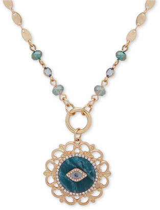 "lonna & lilly Gold-Tone Pave, Stone & Bead Evil Eye 2-in-1 18"" Pendant Necklace"