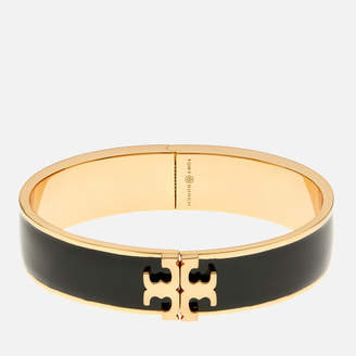 Tory Burch Women's Raised Logo Enamel Hinged Bracelet - Black/Gold