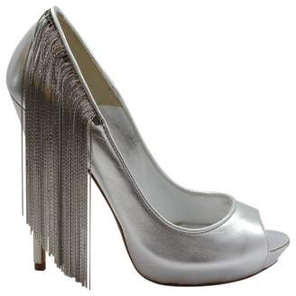 Alexander McQueen Silver Leather High Heel