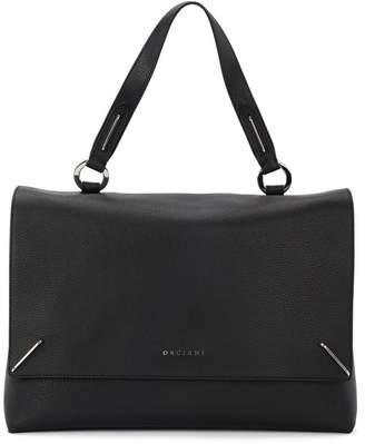Orciani Kate Large Black Tumbled Leather Handbag